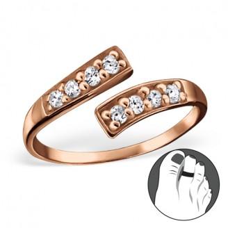 """Pozlacený stříbrný prsten se zirkony na nohu """"Nostri"""" rgp. Ag 925/1000"""