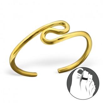 """Pozlacený stříbrný prstýnek na nohu """"Bludiště života"""" gp. Ag 925/1000"""