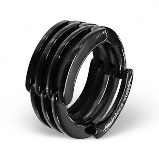 """Prsten z chirurgické oceli """"Wendell"""" černý"""