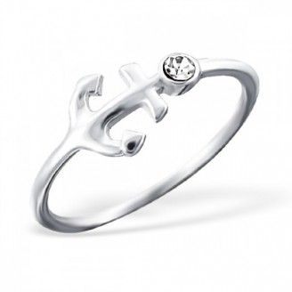 "Stříbrný prsten s krystalem ""Kotva"". Ag 925/1000"