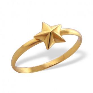 """Stříbrný prsten pozlacený """"Zlatá hvězda"""". Ag 925/1000"""