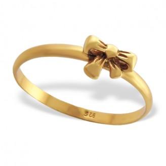 """Stříbrný prsten pozlacený """"Zlatá mašle"""". Ag 925/1000"""