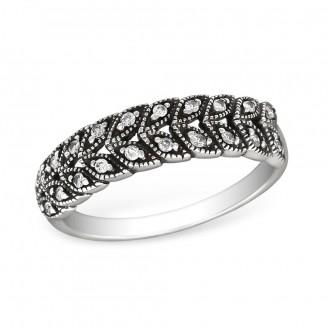 """1,8x5 Stříbrný prsten se zirkony """"Prominent"""". cry. Ag 925/1000"""