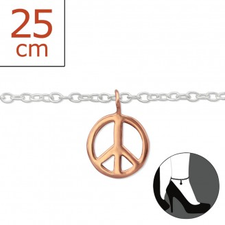 """Stříbrný řetízek na nohu """"Symbol míru"""". Ag 925/1000"""