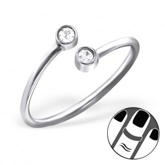 "Midi prsten ze stříbra s krystaly ""Duo"". Ag 925/1000"