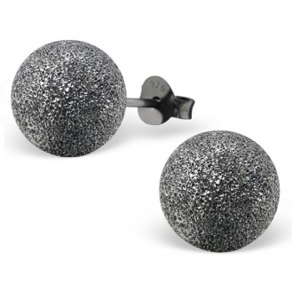 "Stříbrné rutheniové náušnice s rozdrcenými diamanty ""Cometes"".bk. 10x10. Ag 925/1000"
