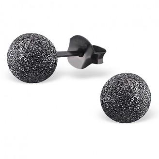 "6x6 Stříbrné rutheniové náušnice s rozdrcenými diamanty ""Cometes"". Ag 925/1000"