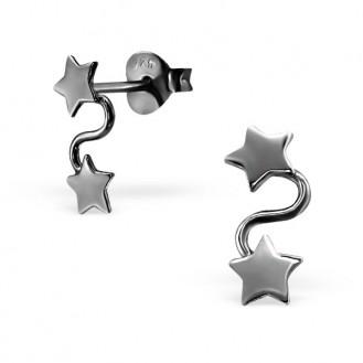 """Stříbrné rutheniové náušnice """"Čtyři hvězdy"""". Ag 925/1000"""