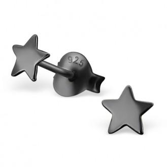 """Stříbrné náušnice pecky """"Hvězdičky"""".ru. 4x4. Ag 925/1000"""