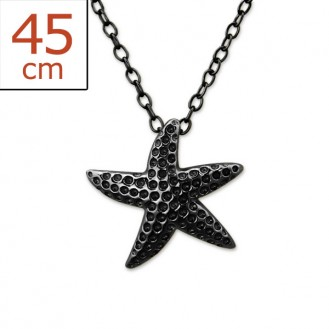 """Stříbrný náhrdelník zdobený ruthéniem """"Starfish"""". Ag 925/1000"""