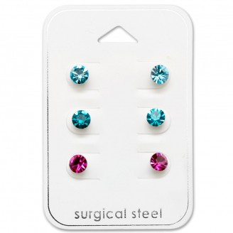 """Souprava náušnic z chirurgické oceli s krystaly """"Aspectus""""."""