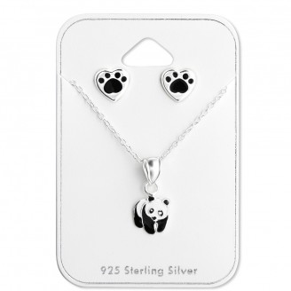 """Souprava dětských stříbrných naušnic a přívěsku """"Panda"""". Ag 925/1000"""