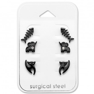 "Náušnice z chirurgické oceli ""Corocottas"" bk"