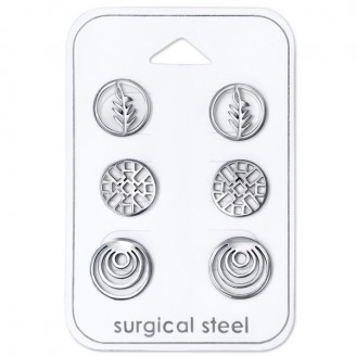 """Souprava náušnic z chirurgické oceli """"Signum""""."""