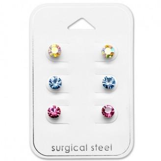 """Souprava náušnic z chirurgické oceli s krystaly """"Adolebit""""."""