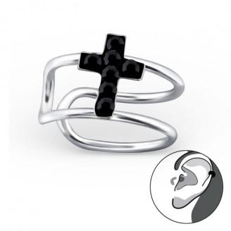 """Stříbrné záušnice s krystaly """"Křížek"""". Ag 925/1000"""
