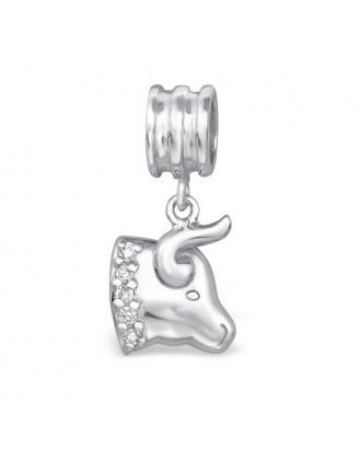 """Přívěsek stříbrný se zirkony na Pandora náramek """"Znamení zvěrokruhu Býk"""". Ag 925/1000"""