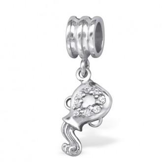 """Stříbrný přívěsek se zirkony """"Znamení zvěrokruhu Vodnář"""" na Pandora náramek. Ag 925/1000"""